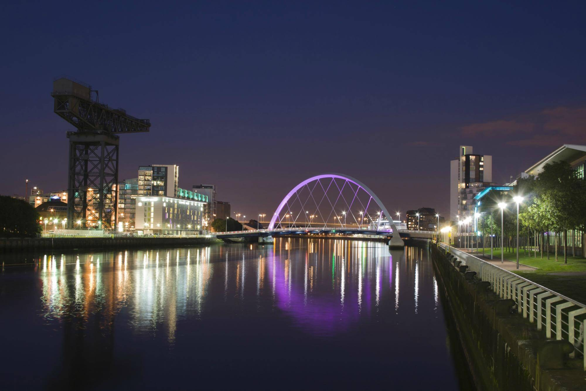 An image of Glasgow at night.
