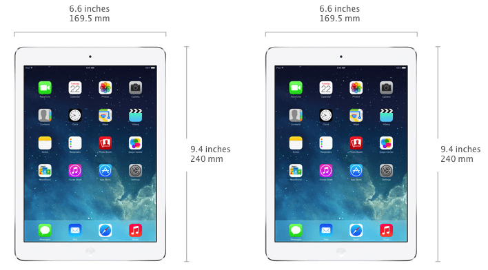 iPad Air size and width in mm - 169.5mm wide and 240mm high.