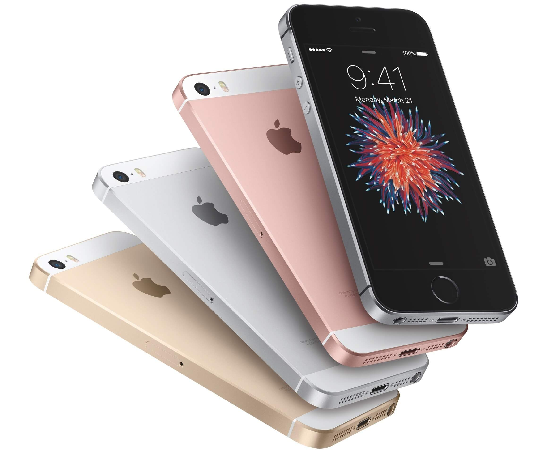 4 iPhones SE in the different colours - gold, silver, rose gold and space grey