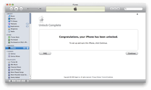 iTunes will finish off the iPhone unlock process.