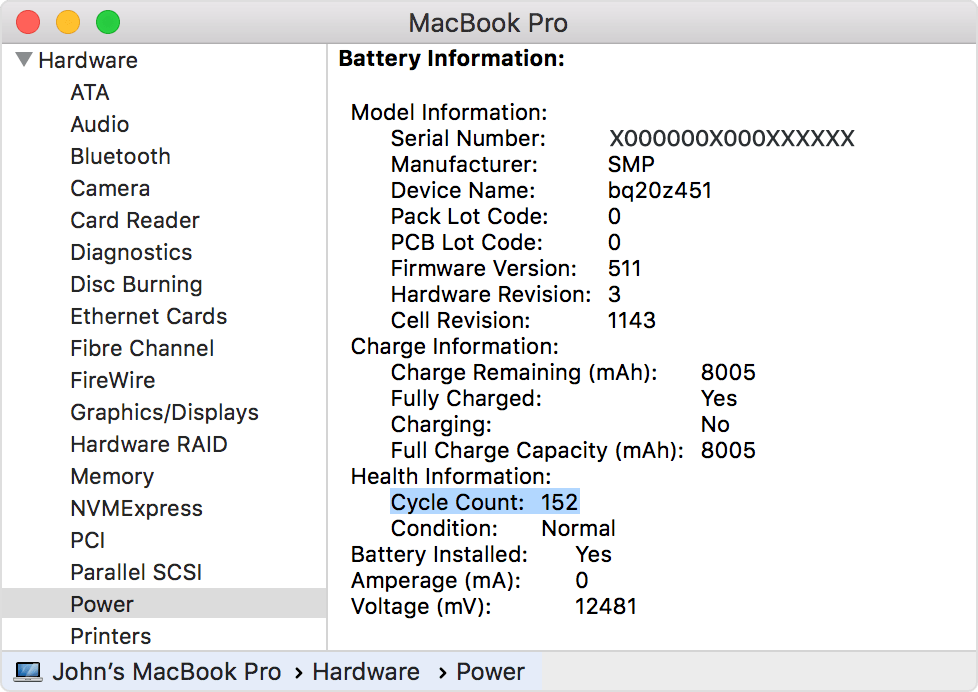 Hardware information from a MacBook Pro