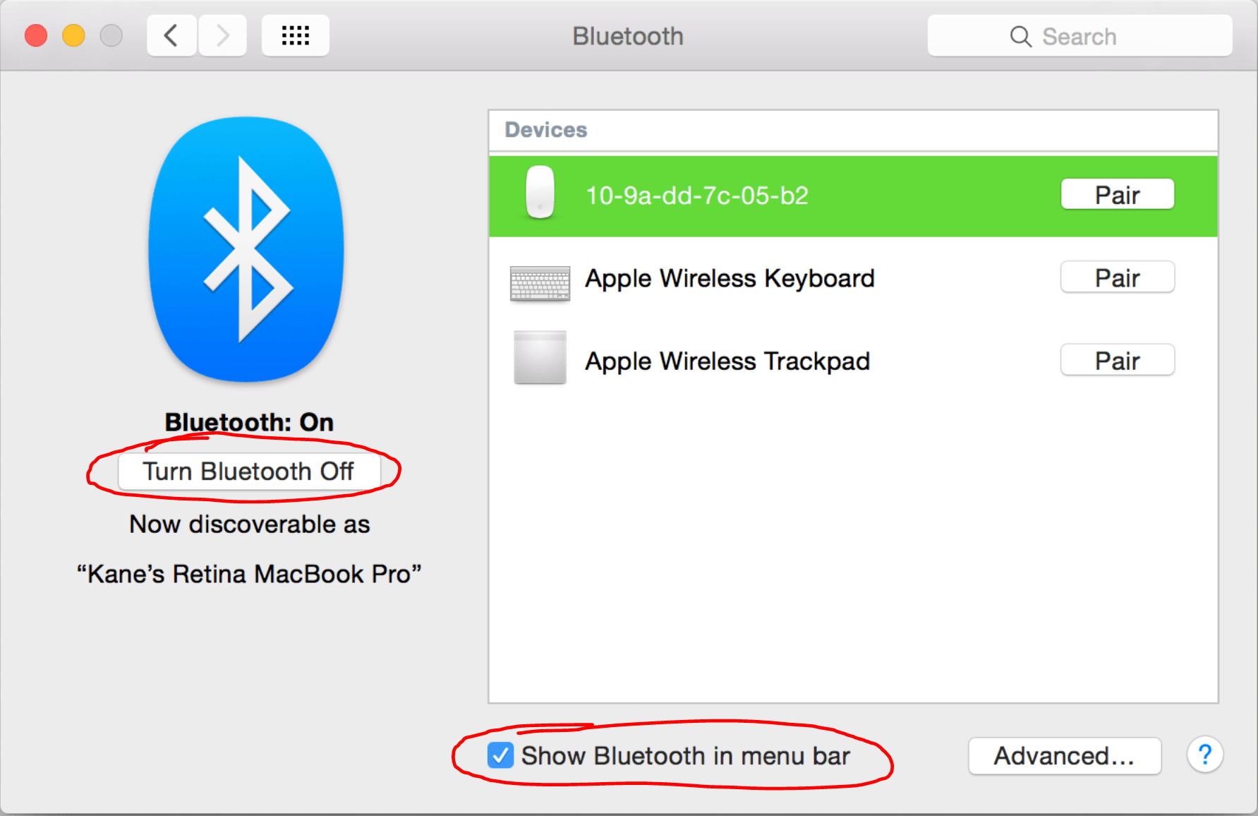 A picture showing the Bluetooth Options on macOS.