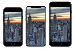 The 3 phones released by Apple in 2017 in size order. On the left, is the iPhone 8, then the iPhone ten (or X) and finally on the right, the iPhone 8 plus.