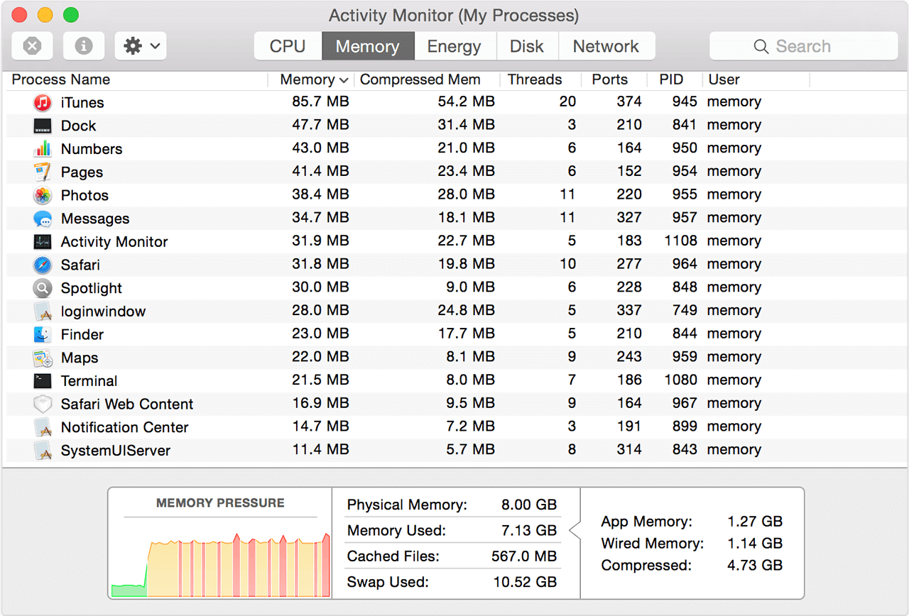 The activity monitor app from macOS. It is on the memory tab, which shows what amount of RAM memory each of the apps are using.