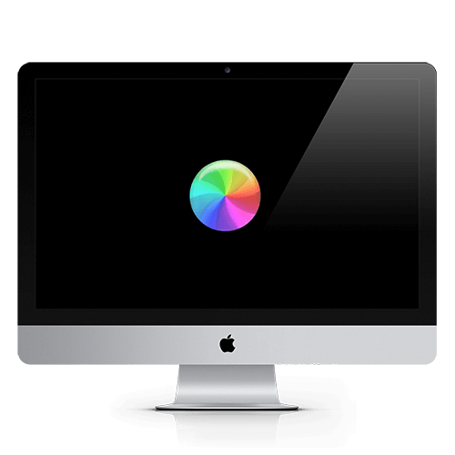 a picture showing an Apple iMac with the beachball, signiying a long loading time