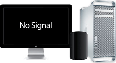 A Mac Pro and Apple Display. There is no video signal