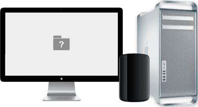 A Mac Pro and Apple Display. The Mac Pro cannot load macOS, so there is a folder with question mark on the screen