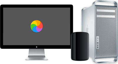 A Mac Pro and Apple Display. It's slow, so there is a spinning beach ball on the screen as the user waits