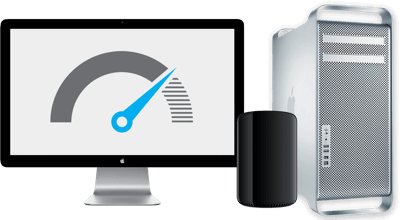 A Mac Pro and Apple Display. The display shows a speedometer, as this Mac Pro has been upgraded and is faster than others