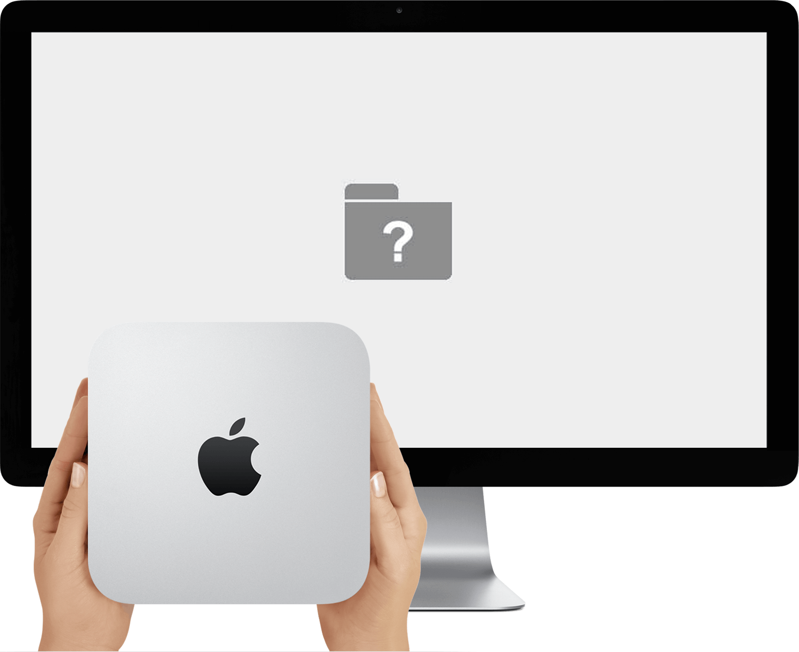 A Mac Mini and Apple Display. The Mac Mini cannot load macOS, so there is a folder with question mark on the screen