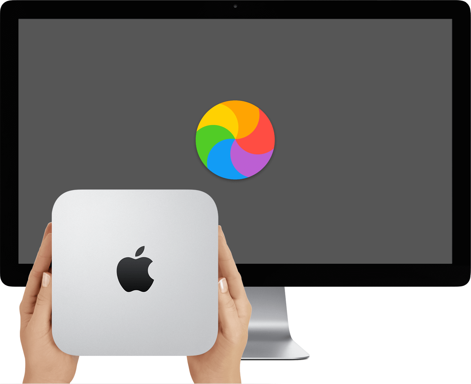 A Mac Mini and Apple Display. It's slow, so there is a spinning beach ball on the screen as the user waits