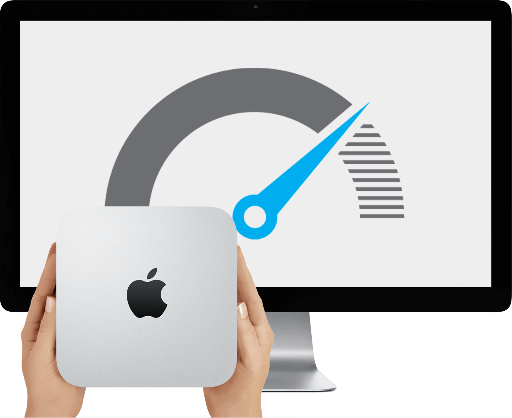 A Mac Mini and Apple Display. The display shows a speedometer, as this Mac Mini has been upgraded and is faster than others