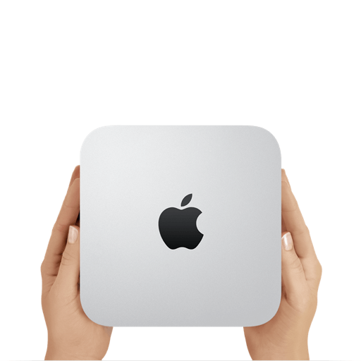 2 hands holding a Mac Mini computer.