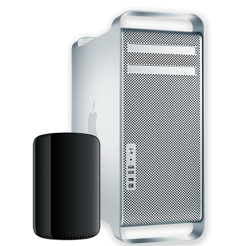 2 Mac Pro computers beside each other. The one on the left is the new black cylinder form factor, while the one on the right is the older tower based model.
