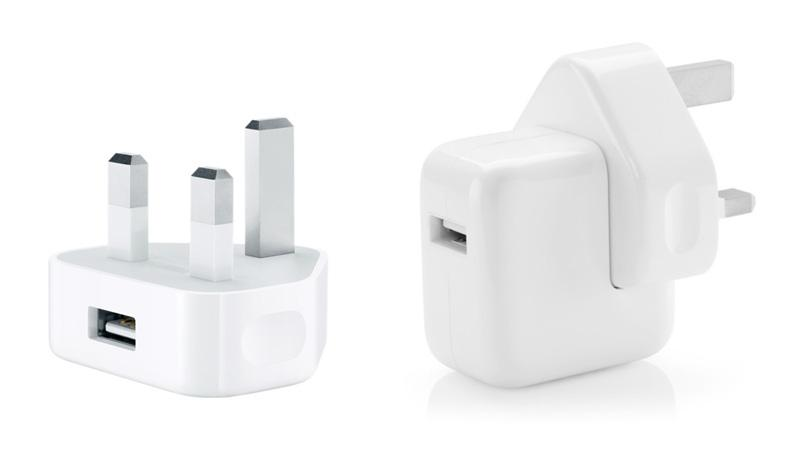 a 5w iPhone USB charger beside a 12w iPad charger