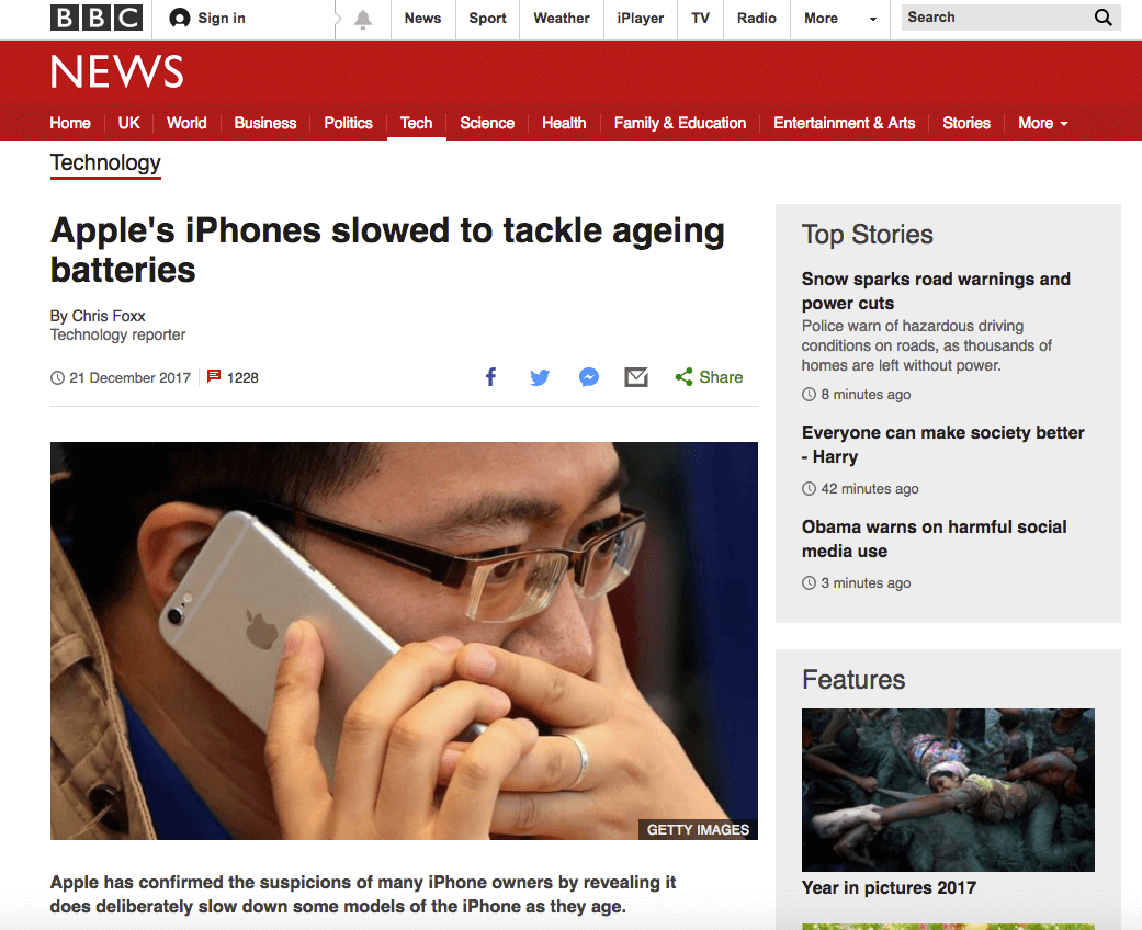 BBC news website showing that Apple are slowing down iPhones if the battery is older.