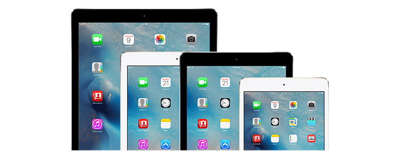 iPad family. iPad 2, iPad Mini, iPad Pro, iPad Air