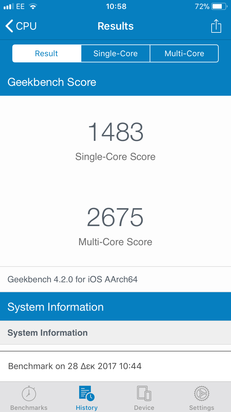 Results screen from GeekBench, showing that an iPhone 6 has a single-core result of 1483 and a multi-core result of 2675.