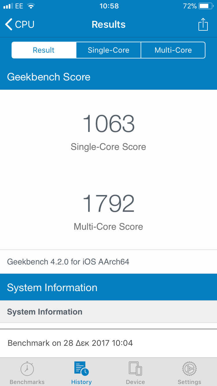 Results screen from GeekBench, showing that an iPhone 6 has a single-core result of 1063 and a multi-core result of 1792. This iPhone battery has 140 charging cycles and is 28% slower than the one with the new battery.
