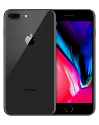 the front and back of a space grey iPhone 8 Plus.