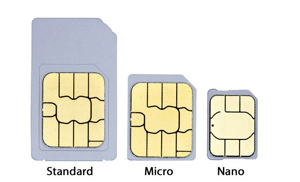 The 3 different sizes of SIM Card, Standard, Micro and Nano SIM.