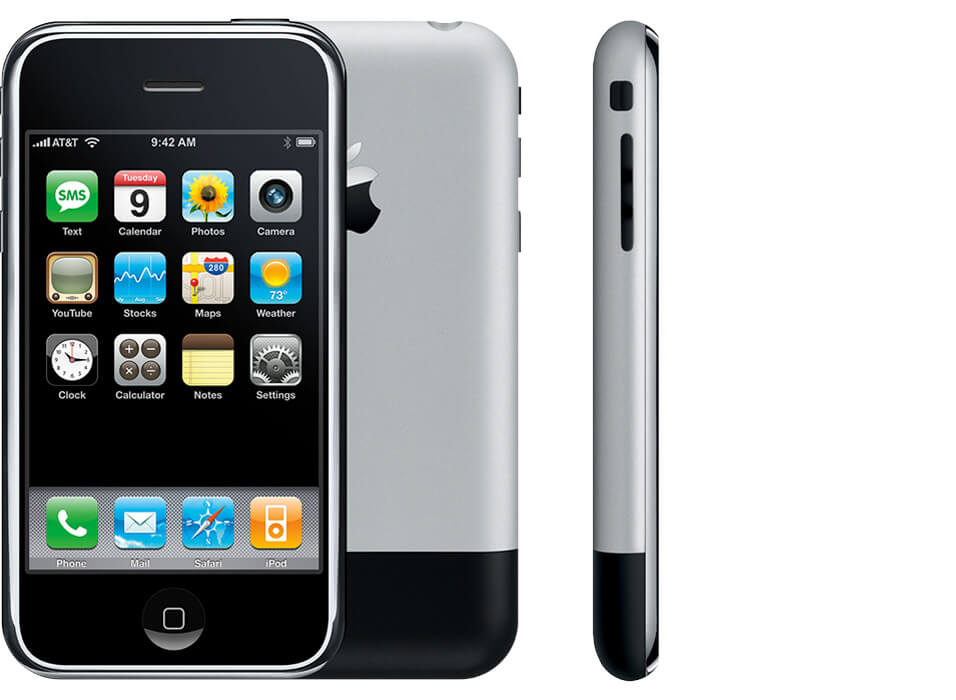 Original iPhone, showing front, back and side views.