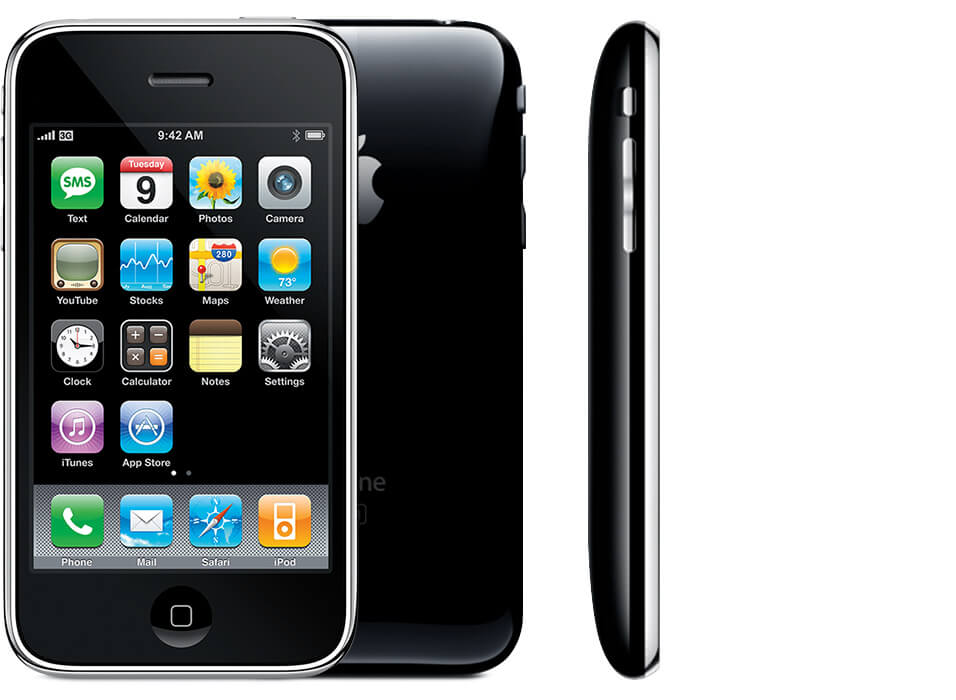 iPhone 3G, showing front, back and side view.