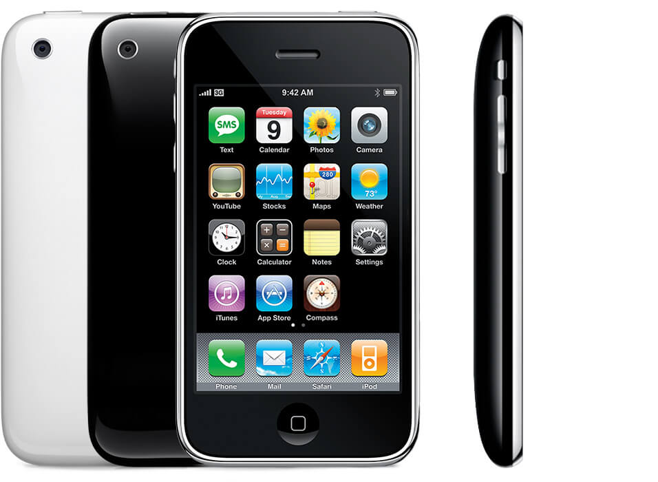 iPhone 3GS, showing the back of a black and a white iPhone 3GS, as well as the front and side views.