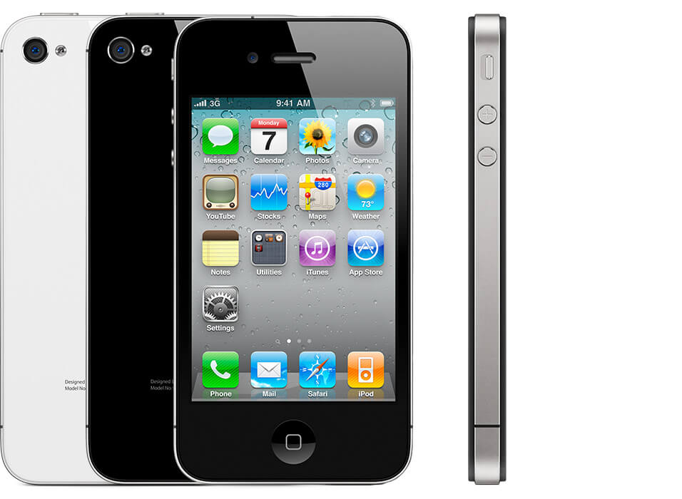 multiple iPhones 4, showing the back of a black one and a white one, as well as the front and side views.