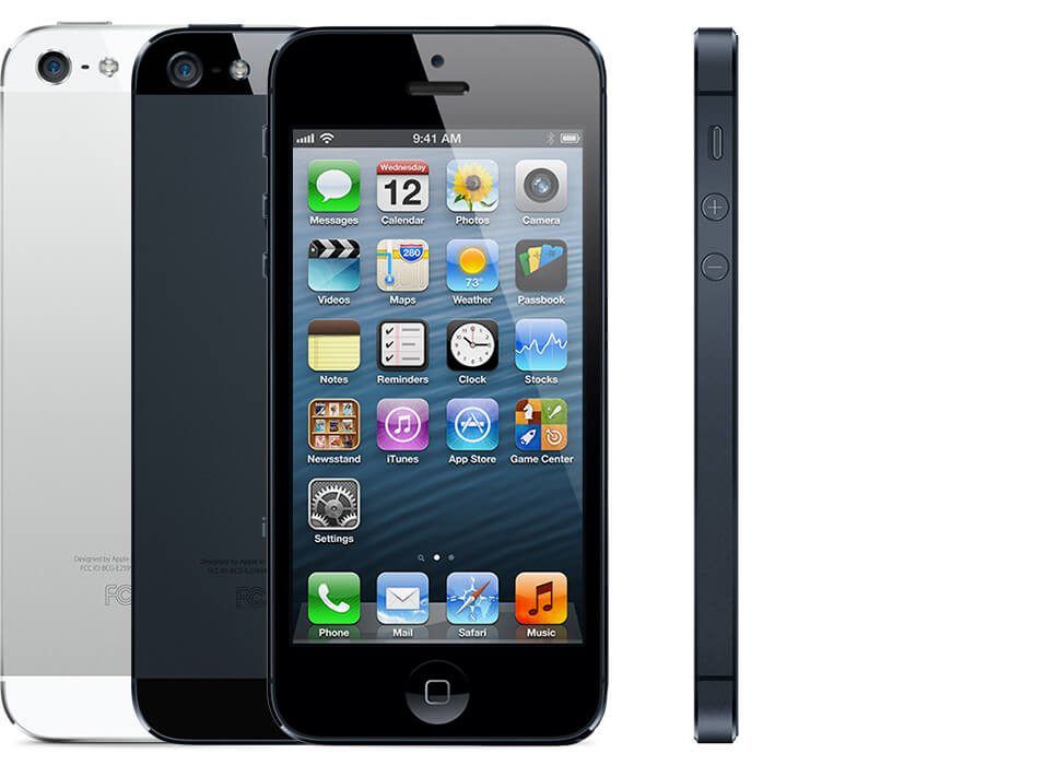 multiple iPhones 5, showing the back of a black one and a white one, as well as the front and side views.