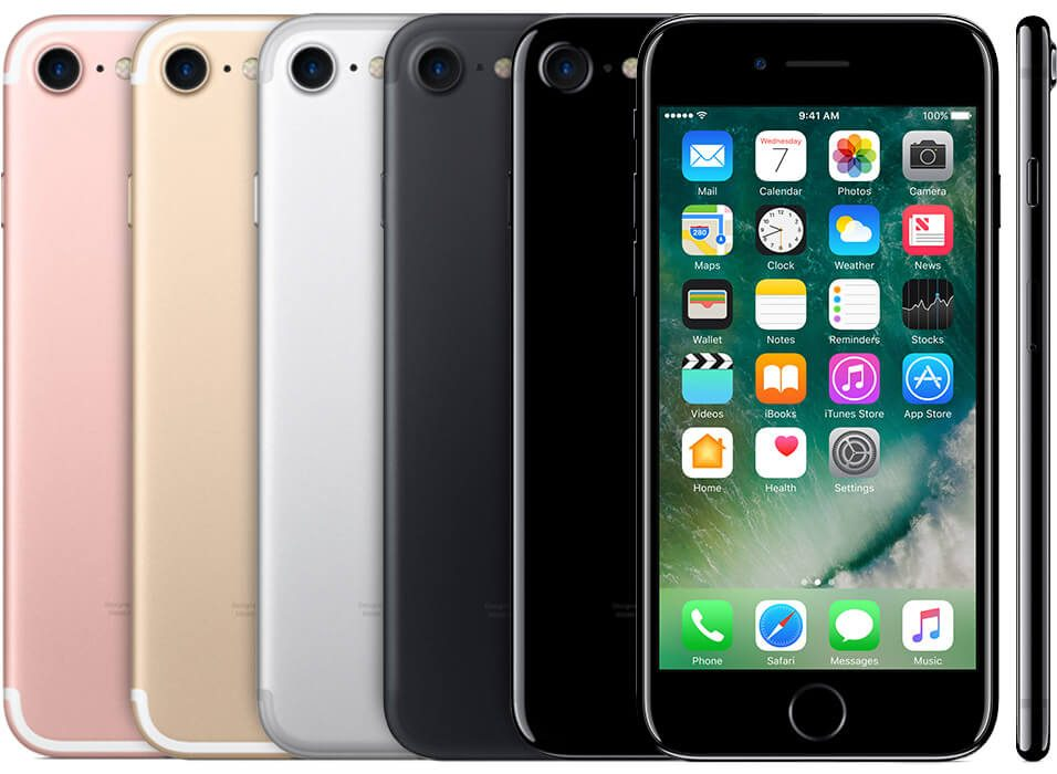 multiple iPhones 7, showing the back of a Rose gold, gold, silver, black and a jet black one, as well as the front and side views.