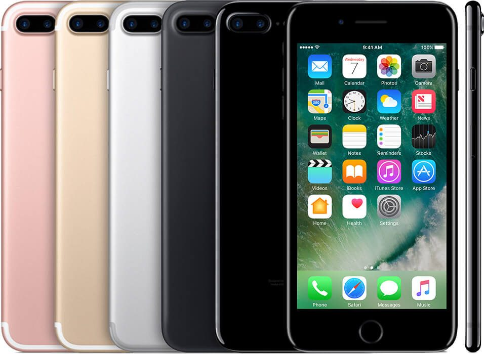 multiple iPhones 7 plus, showing the back of a Rose gold, gold, silver, black and a jet black one, as well as the front and side views.