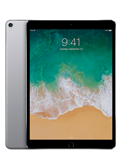 The front and back views of a 10.5 inch iPad Pro The back of the iPad is space grey aluminium and the front shows a back bezel.