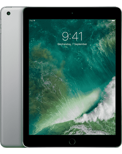A 9.7 inch iPad. It is showing the back case, which is gold, and the front, which is white. It looks like iOS 11 is running on the iPad.