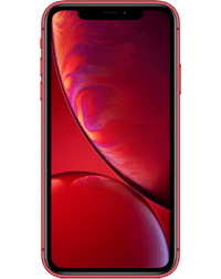 the front of a red iPhone Ten R.