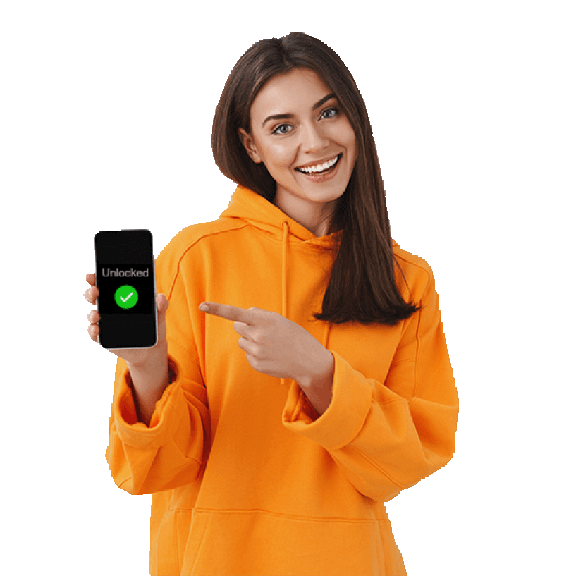 Woman with orange hoodie. She is holding an iPhone in her right hand and pointing to it with her left. The word, unlocked, is on the iPhone screen along with a white tick mark inside a green circle.
